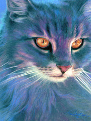 Print featuring the painting Lilac Cat by Ragen Mendenhall