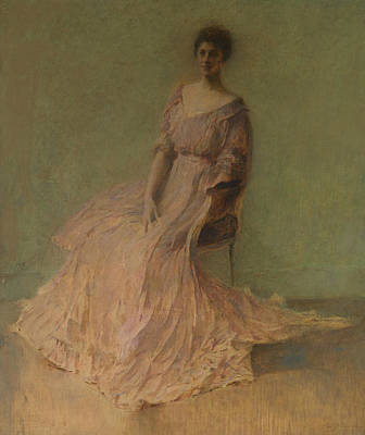 Dew Painting - Lilac Dress by Thomas Wilmer Dewing