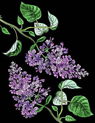 Painting - Lilac Flowers Watercolour  by Irina Sztukowski