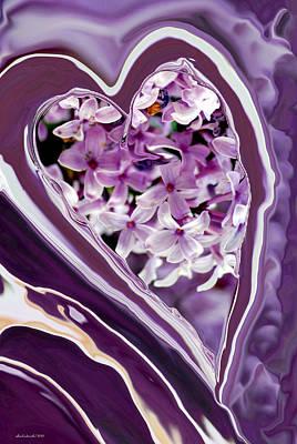 Charity Digital Art - Lilac Heart Abstract For Haiti by Michelle  BarlondSmith