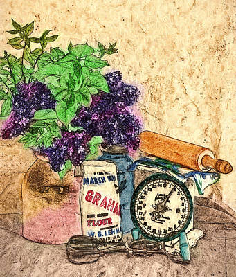 Lilac In Pantry Art Print by John K Woodruff