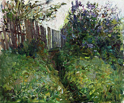 Painting - Lilac Near Old Fence by Juliya Zhukova