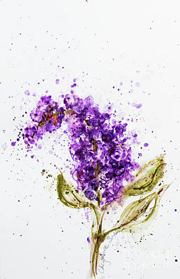 Painting - Lilac Stem Blossom Watercolor by CheyAnne Sexton