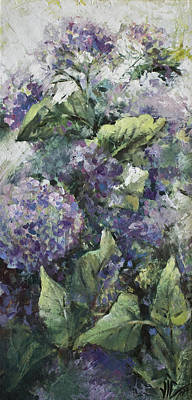 Lilac Drawing - Hydrangea-modern Palette Knife Abstract Flower by Vali Irina Ciobanu
