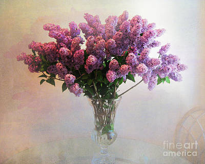 Lilac Flower Photograph - Lilac Vase On Table by Peter Awax