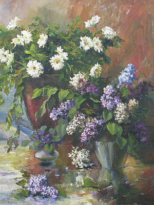 Asters Painting - Lilacs And Asters by Tigran Ghulyan