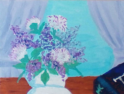 Wall Art - Painting - Lilacs And Literature by Helen Krummenacker