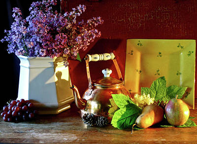 Teapot Mixed Media - Lilacs And Teapot  by Reid Hitzeman