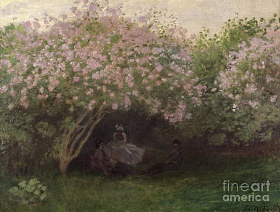 Grey Dress Painting - Lilacs by Claude Monet