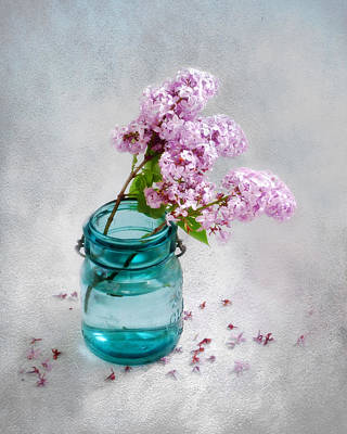 Print featuring the photograph Lilacs In A Glass Jar Still Life by Louise Kumpf
