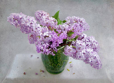 Photograph - Lilacs In A Green Tankard Still Life by Louise Kumpf