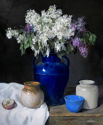 Painting - Lilacs In Big Blue Vase, Pottery, Apple Half by Robert Holden
