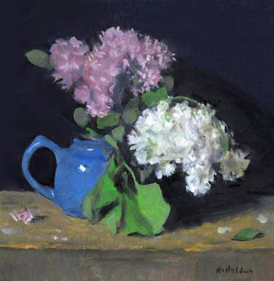 Painting - Lilacs In Blue Sugar Bowl by Robert Holden