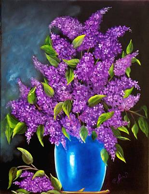 Painting - Lilacs In Blue Vase by Joni McPherson