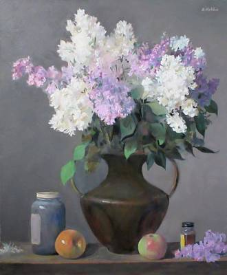Lilacs In Bronze Chinese Vase, Apples Original