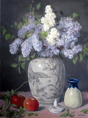 Painting - Lilacs In Chinese Ginger Jar With Lid, Pottery And Apples by Robert Holden