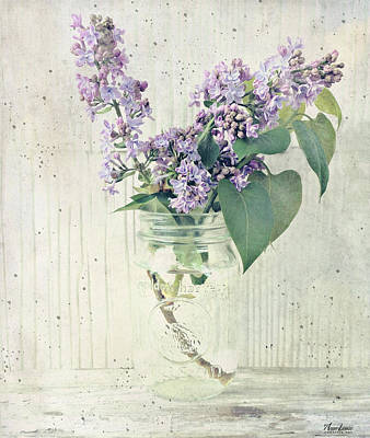 Photograph - Lilacs In Old Jar by Anna Louise