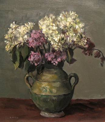 Painting - Lilacs In Rustic Green Pottery by Robert Holden