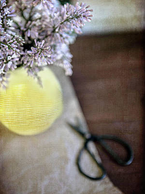 Photograph - Lilacs In Yellow Vase 2 by Rebecca Cozart