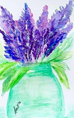 Lilac Drawing - Lilacs Mason Jar  by Gail Nandlal