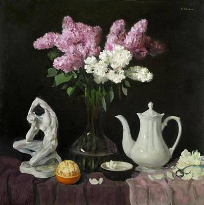 Painting - Lilacs, Plaster Figurine, White Coffeepot And Orange by Robert Holden