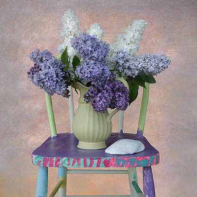 Lilacs With Chair And Shell Art Print by Jeff Burgess