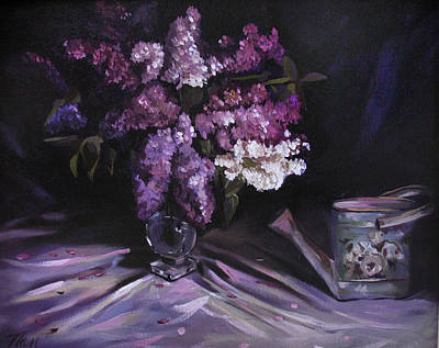 Painting - Lilacs With Watering Can by Nancy Griswold
