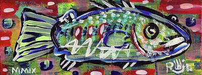Painting - Lil'funky Folk Fish Number Fourteen by Robert Wolverton Jr