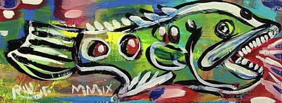 Neo-expressionism Mixed Media - Lil'funky Folk Fish Number Thirteen by Robert Wolverton Jr
