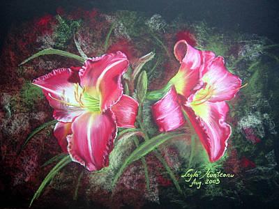 Lilies Drawings - Lilies #2 by Leyla Munteanu