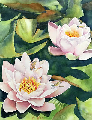 Painting - Lilies And Dragonflies by Hilda Vandergriff