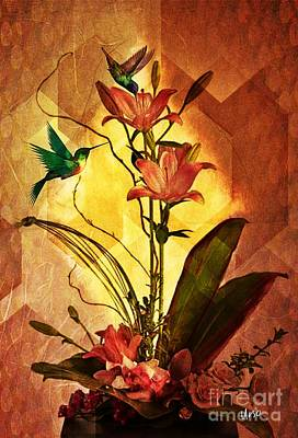 Digital Art - Lilies And Hummingbirds by Maria Urso