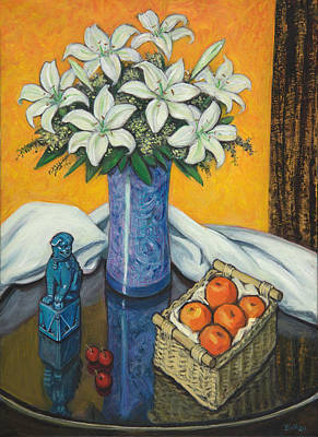 Blue And Green Painting - Lilies And Oranges by Sandra Delaney
