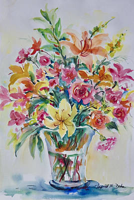 Painting - Lilies And Roses by Ingrid Dohm