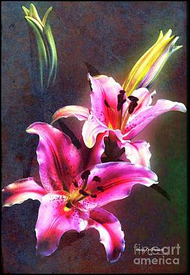 Mixed Media - Lilies At Night by MaryLee Parker