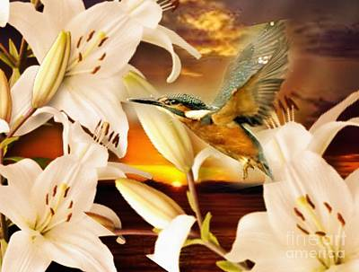 Digital Art - Lilies At Sunset by Maria Urso