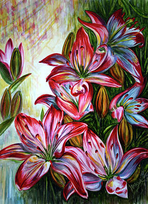 Print featuring the painting Lilies by Harsh Malik