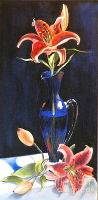 Painting - Lilies In Cobalt by Susan A Becker