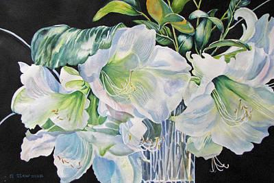 Lilies-in-milan Art Print by Nancy Newman