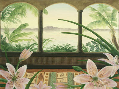 Flowers Painting - Lilies In Paradise by Cathy Cleveland
