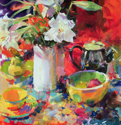 Teapot Painting - Lilies In Summer by Peter Graham