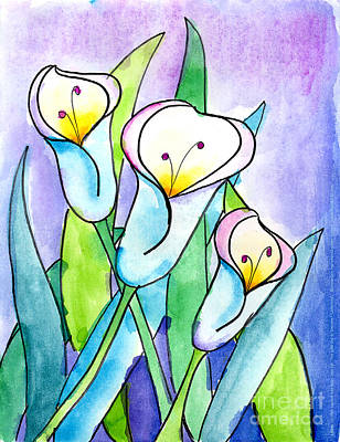 Painting - Lilies by Lauren Van Woy Age Ten