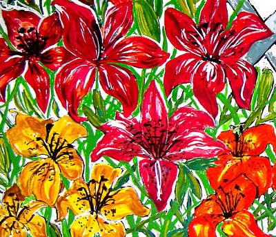 Lilies Art Print by Nancy Rucker