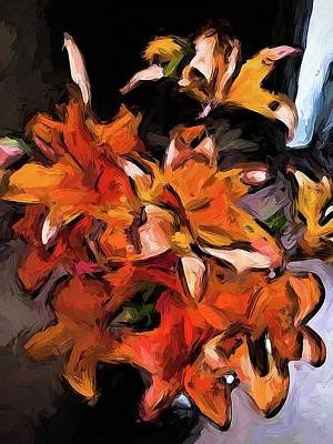 Digital Art - Lilies Of Orange 1 by Jackie VanO