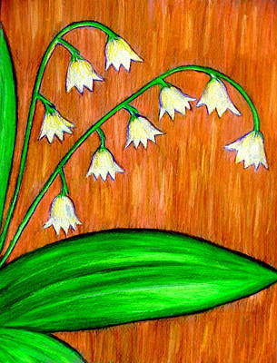 Drawing - Lilies Of The Valley Dark by Beth Akerman