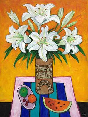 White Painting - Lilies. by Sandra Delaney