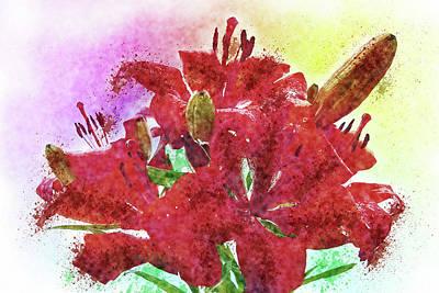Painting - Lilies-watercolor by Tatiana Tyumeneva