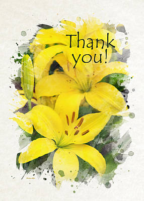 Mixed Media - Lilies Watercolor Thank You Card by Christina Rollo