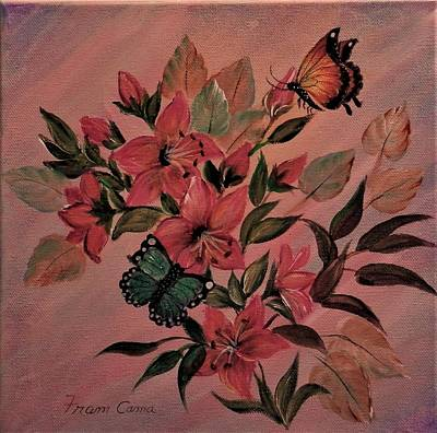 Painting - Lilies With Butterflies by Fram Cama