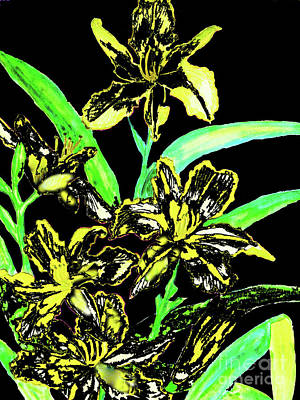Painting - Lilies Yellow And Black by Irina Afonskaya
